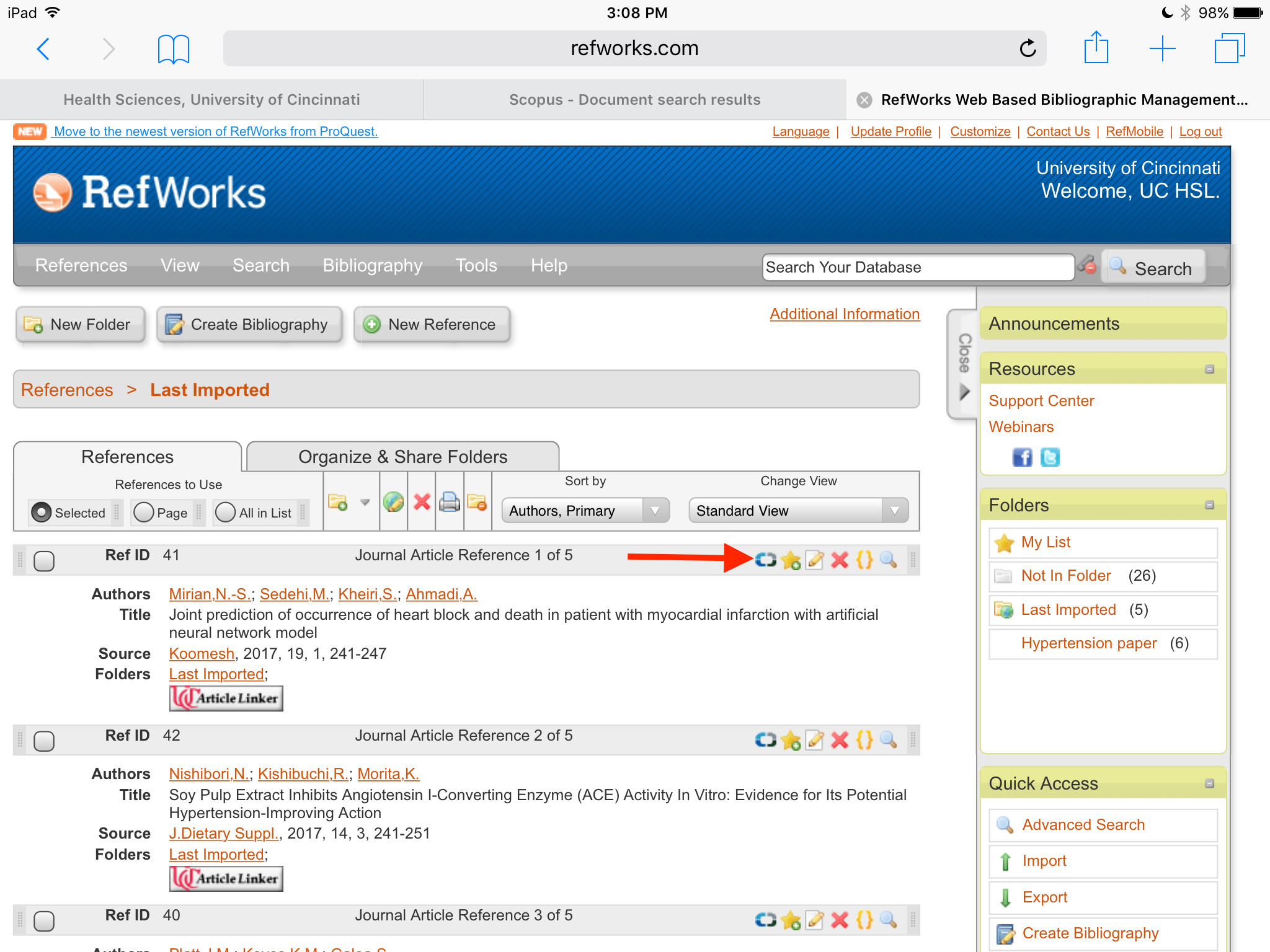 Screengrab of RefWorks references list with link to Scopus reference in toolbar highlighted