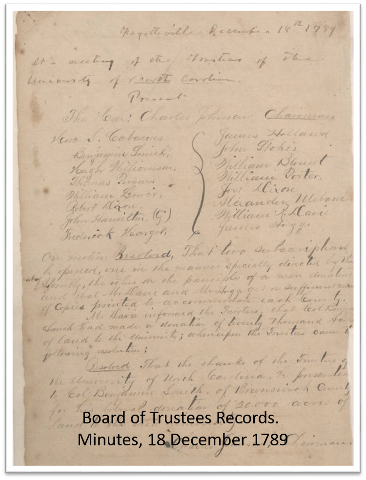 Board of Trustees document from 1789