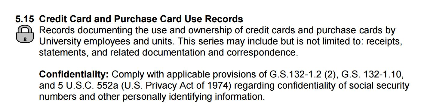 Lock Symbol on UNC Records Schedule section 5.15, Credit Card and Purchase Card Use Records