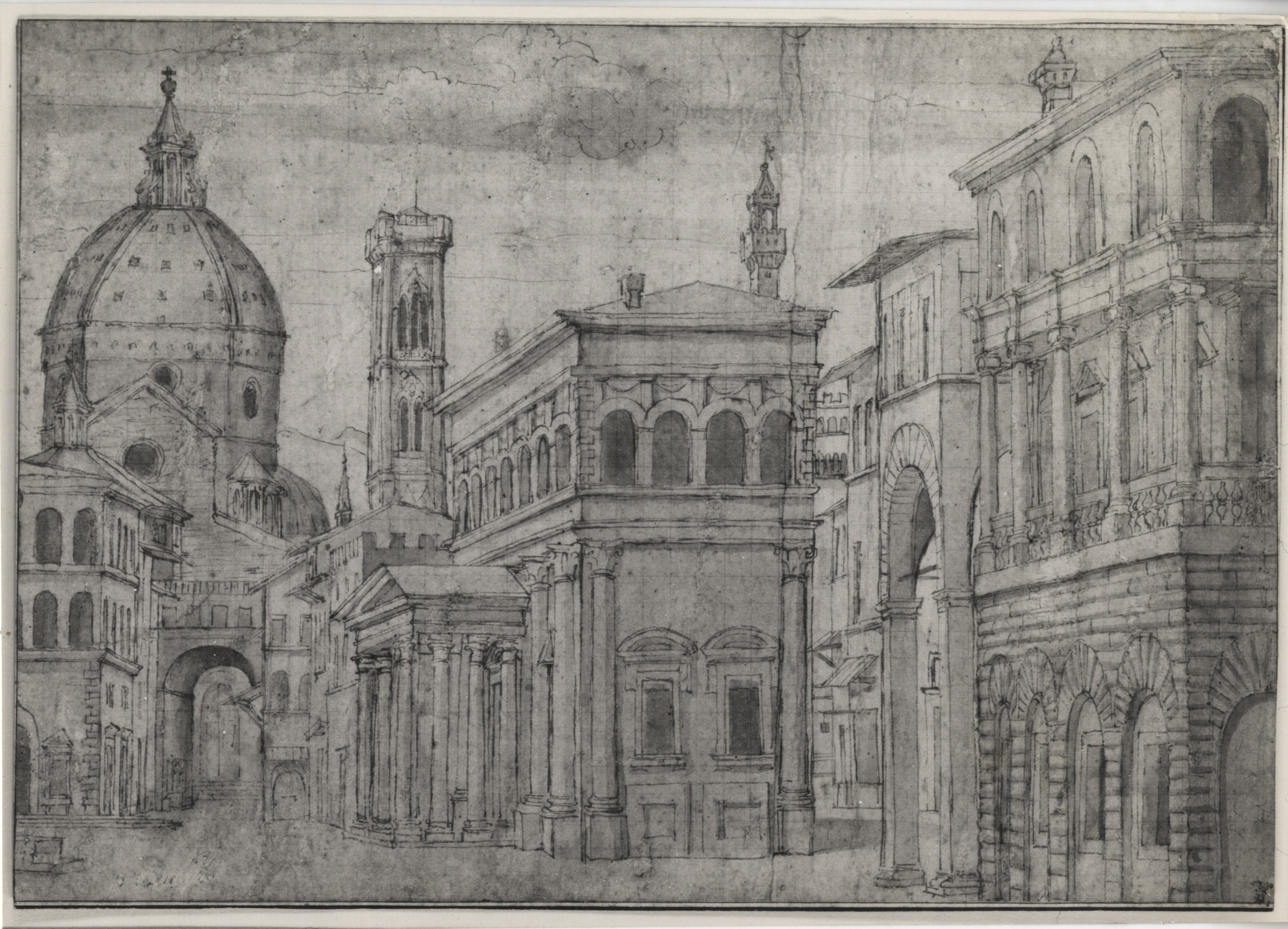 Photograph from the Calman collection of Pen and Ink wash by Baldassare Lanci, born circa 1510, titled A capriccio of Florence