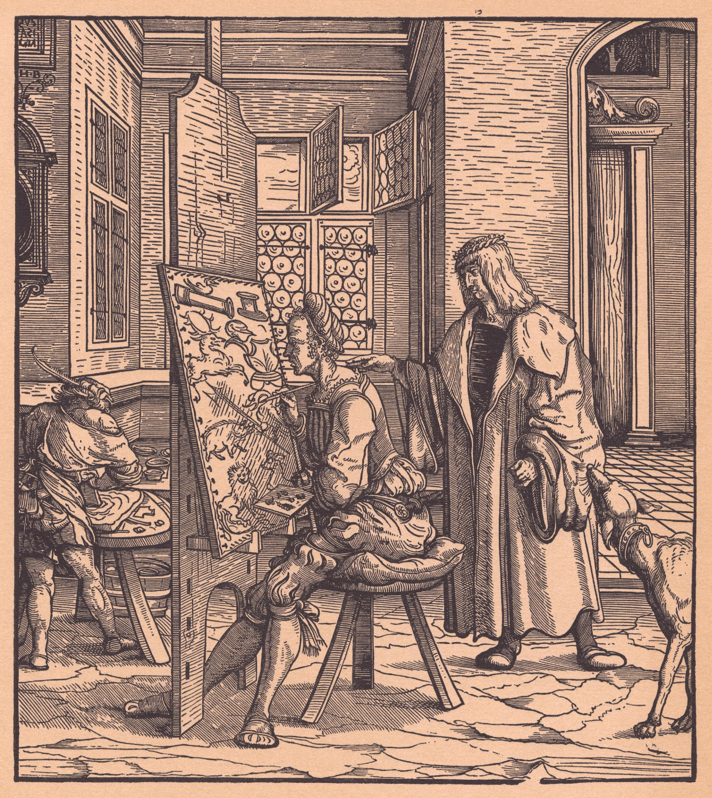 Printed woodcut, illustration circa 1514 to 1516, by artist Hans Burgkmair the Elder. Illustration from an autobiography by Maximilian I titled Der Weißkunig. From the Cohn Bequest.