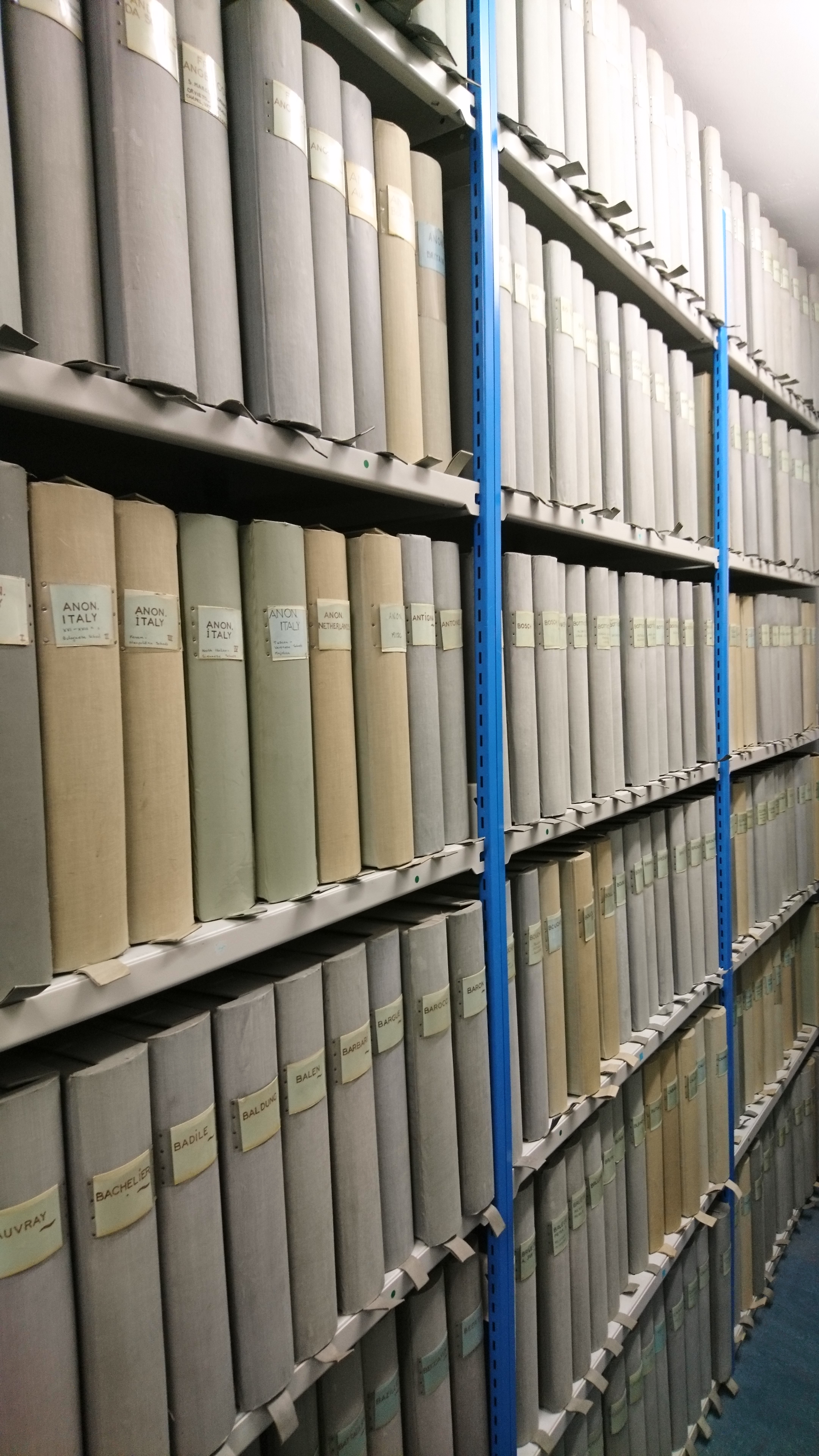 Shelves of archival boxes at the Visual Resources Centre