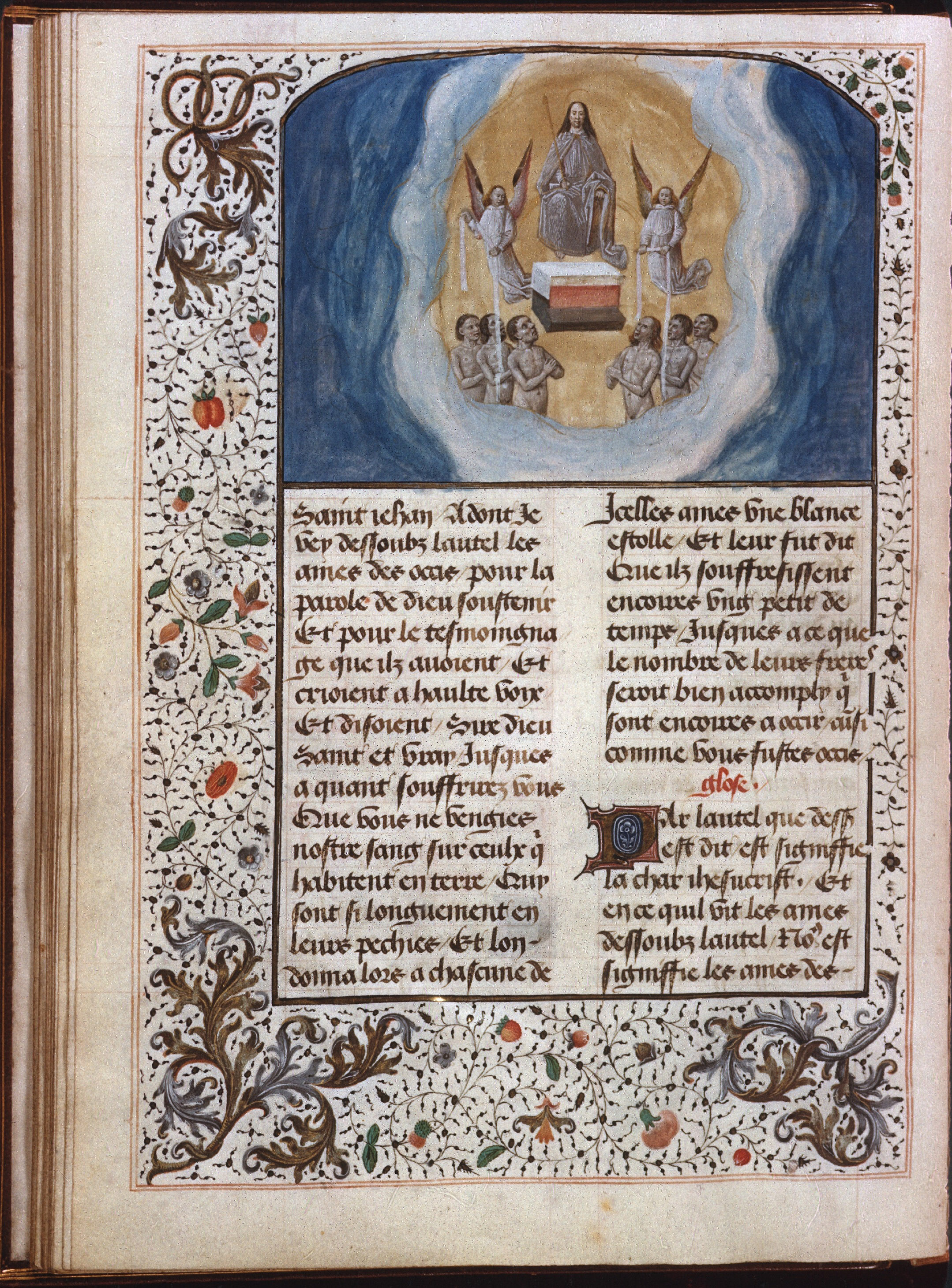Slide from the Delaisse collection showing Grisaille miniature with color wash, from Apocalypse of Margaret of York, circa 1475
