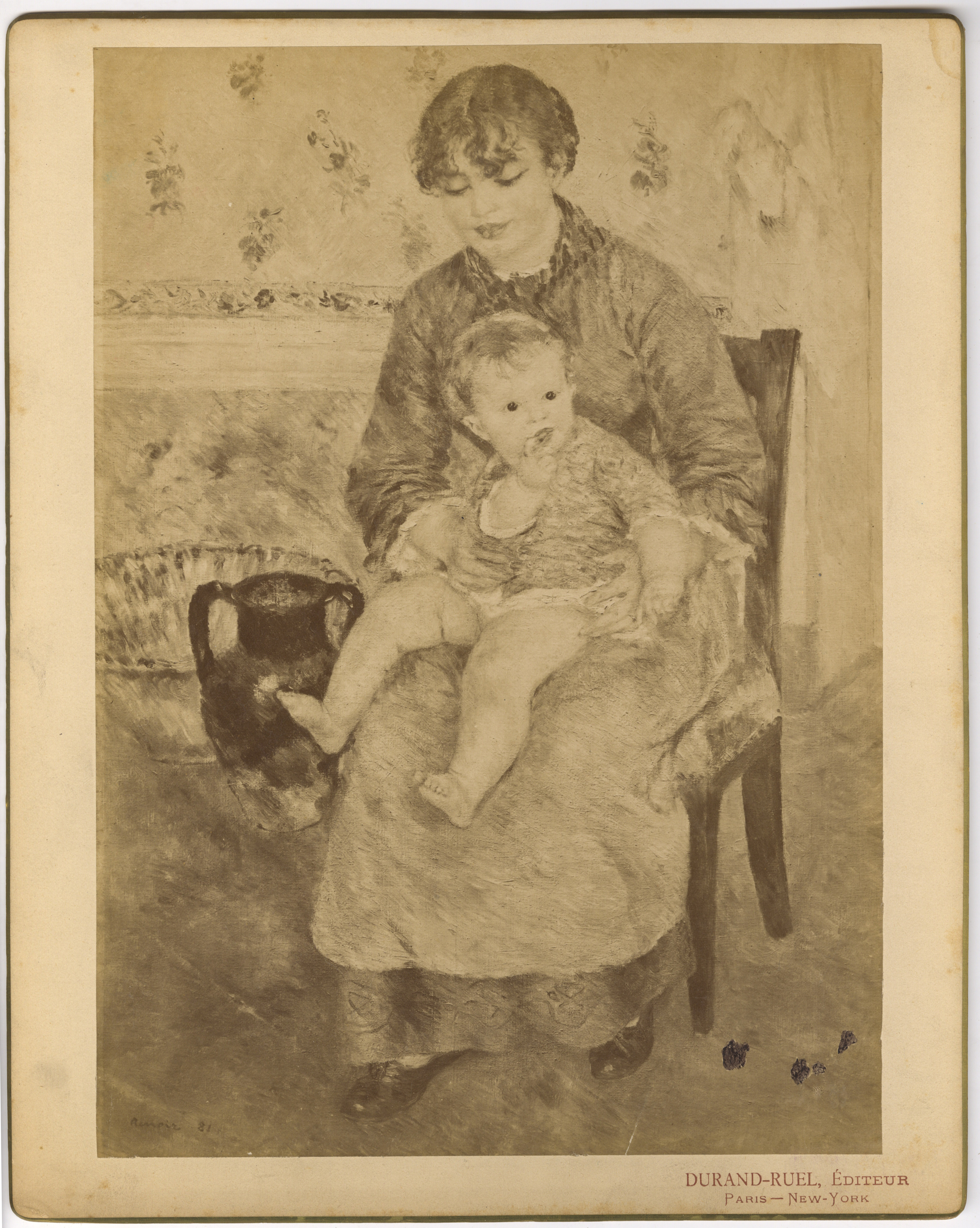 Mounted photographic print of Impressionist painting by Pierre-Auguste Renoir, titled Young Mother, painted in 1881