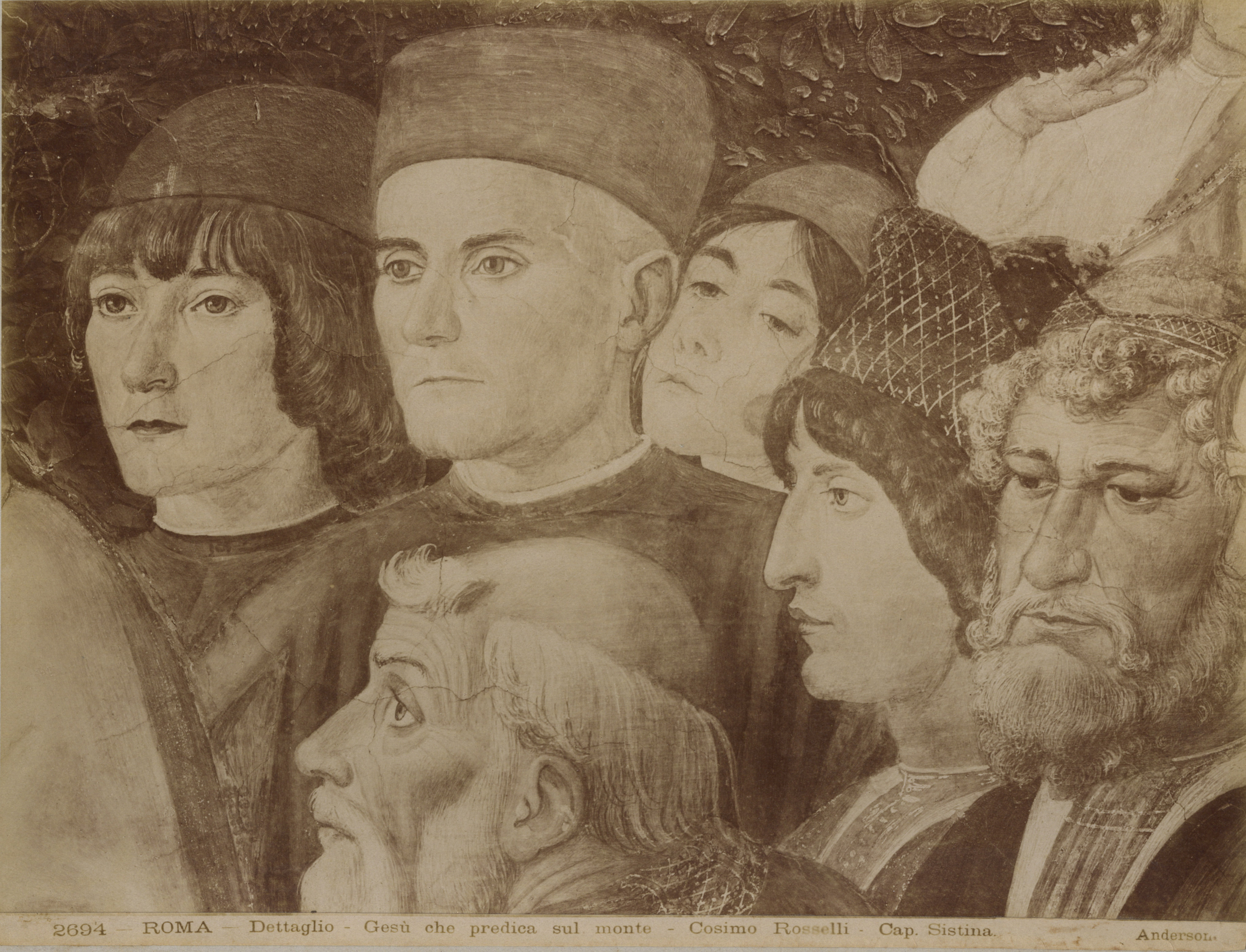 Print from commercial publishers collected by Professor F. H. Heinemann, showing detail of Cossimo Rosselli fresco titled Sermon on the Mount painted between 1481 and 1482