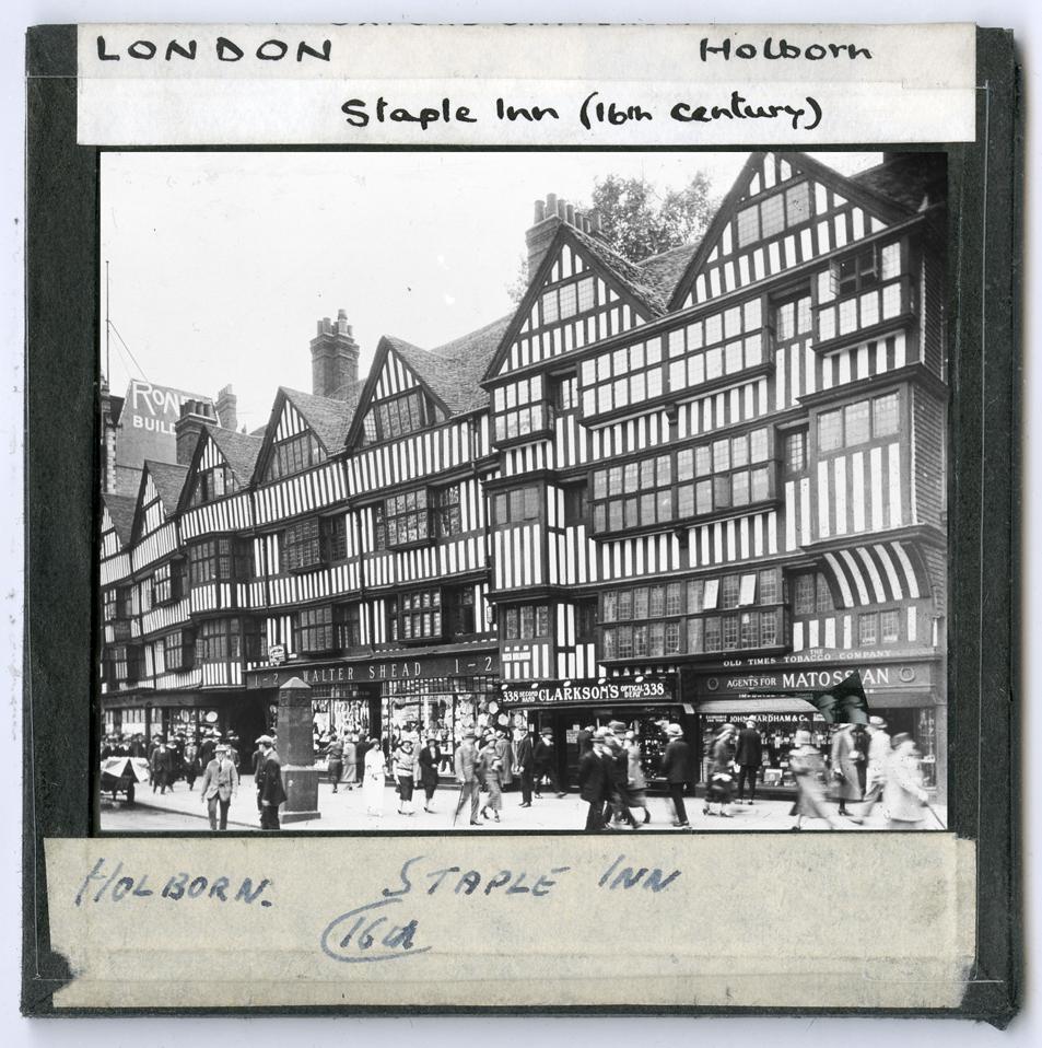 Slide photograph of 16th Century Staple Inn at Holborn forming part of the HEIR database