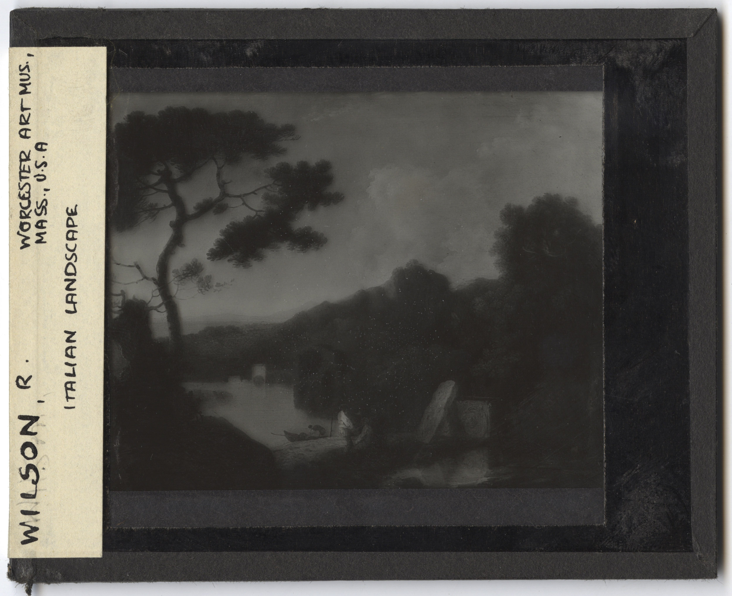 Slide of oil on canvas painting by Richard Wilson title Lake Avernus, dated circa 1782