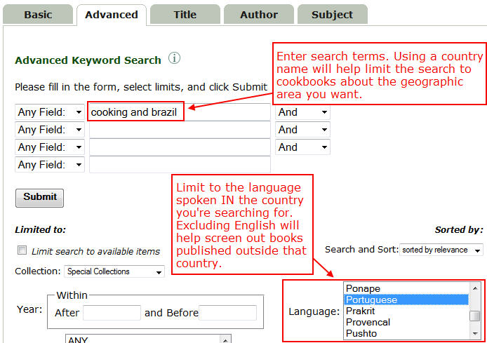Screenshot Advanced Keyword Search