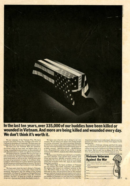February 1971 ad in Playboy for Vietnam Veterans Against the War