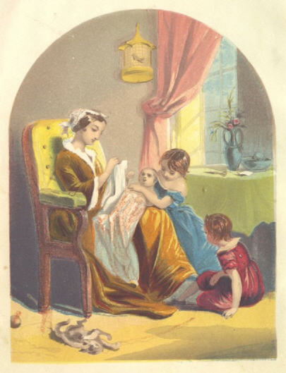 Image of mother in rocking chair with three children around her.