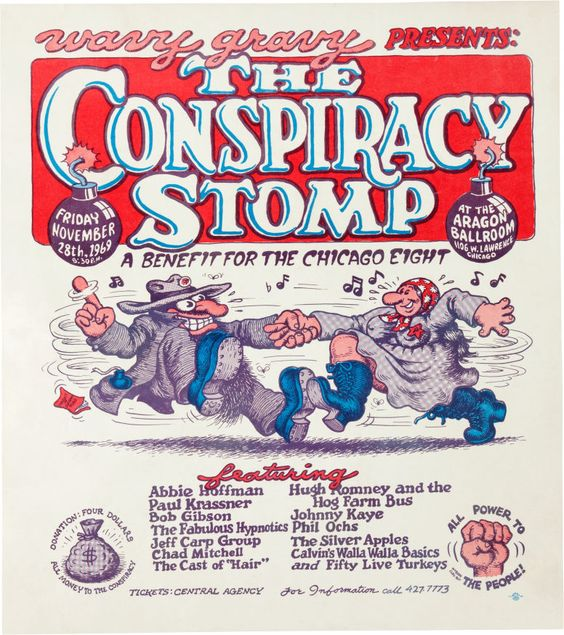 "Poster for Conspiracy Stomp benefit concern to aid ""Chicago Seven"" protesters"