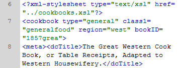 Snippet of XML markup