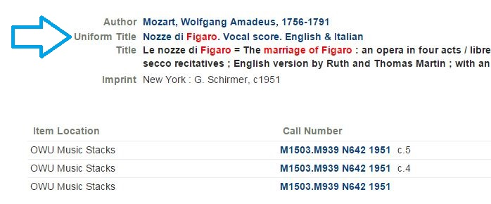 Consort example of work with author: Mozart, Wolfgang Amadeus, 1756-1791; and uniform title: Le nozze di Figaro = The marriage of Figaro : an opera in four acts / libre secco recitatives ; English version by Ruth and Thomas Martin ....