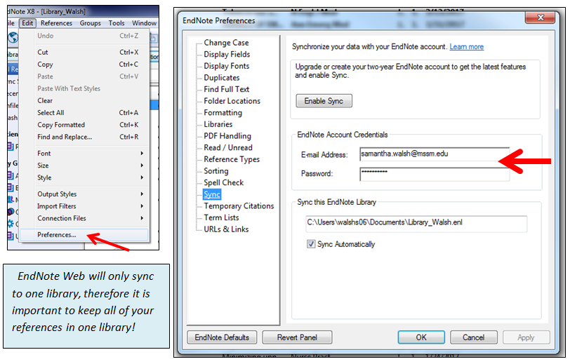 Syncing & Sharing - EndNote @ Levy Library - Levy Library
