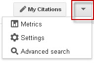 Google Scholar drop down menu