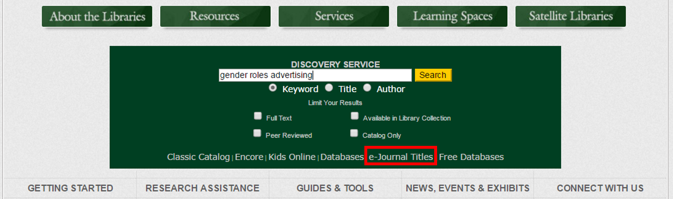 How do I browse the A-Z List of e-Journals? - DLSU Libraries : Ask LORA
