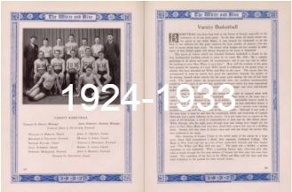 "Two pages of the 1924-1933 yearbook with the words ""1924-1933"" overlaid on top of them."