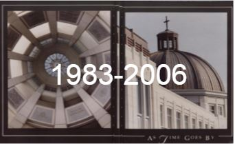 "Pictures of Seton Hall's Library with ""1983-2006"" overlaid on top of them."