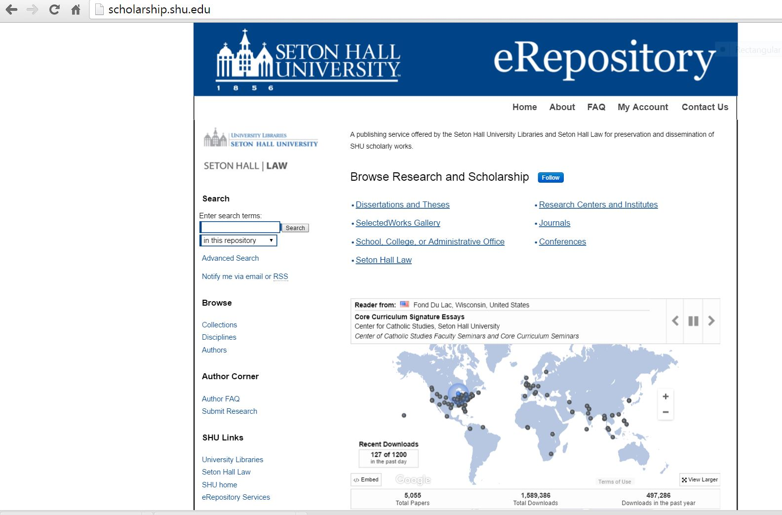 Seton Hall University eRepository example