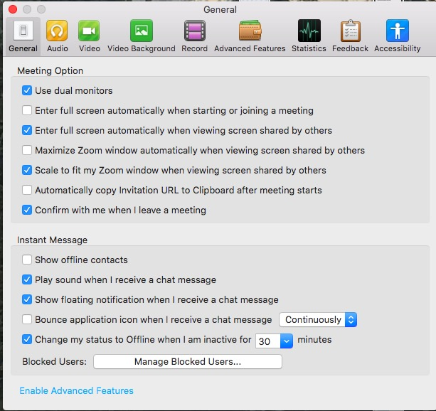 Screen shot of settings screen
