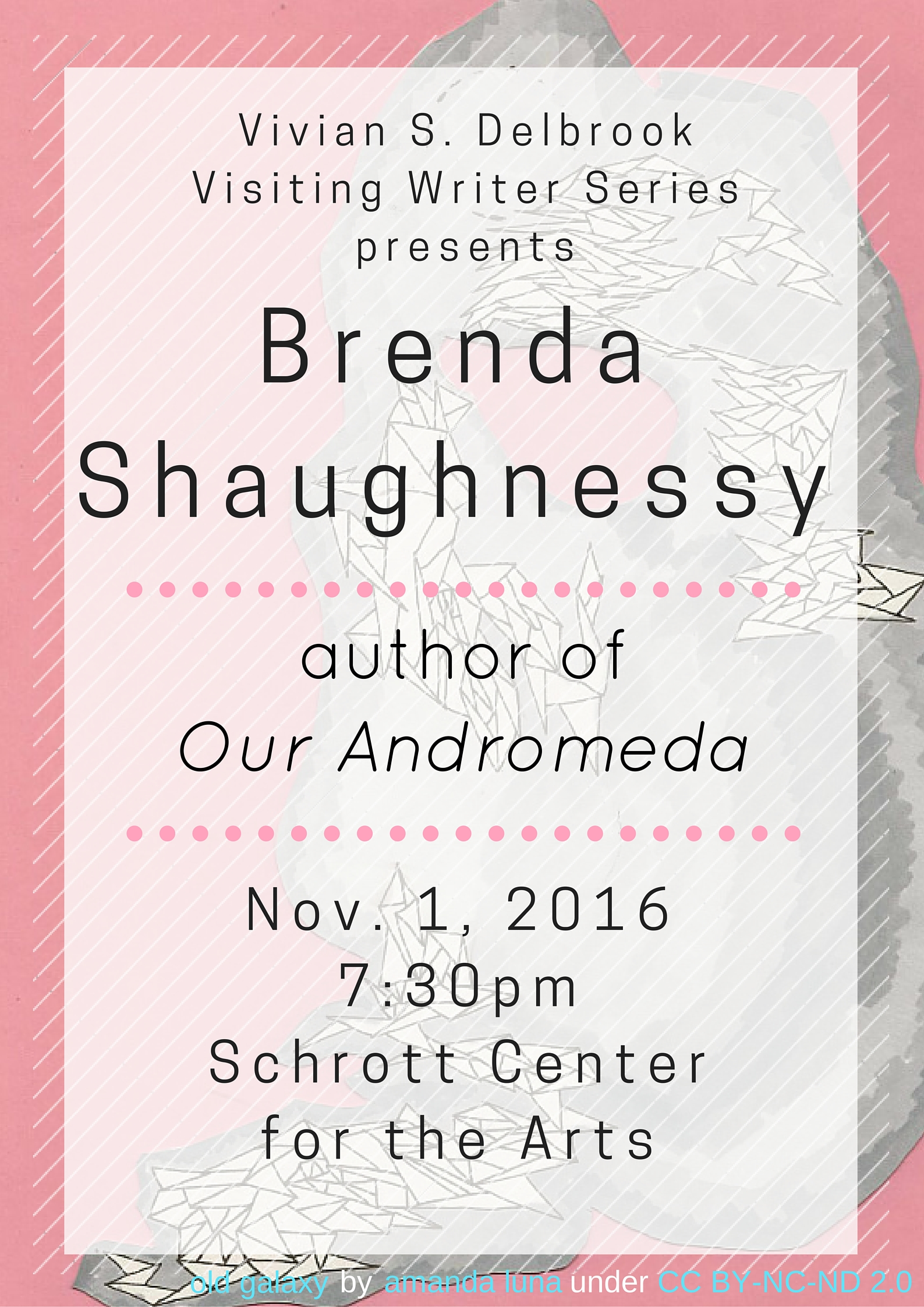 Brenda Shaughnessy, author of Our Andromeda, will be at the Schrott Center for the Arts on November 1, 2016, at 7:30pm.