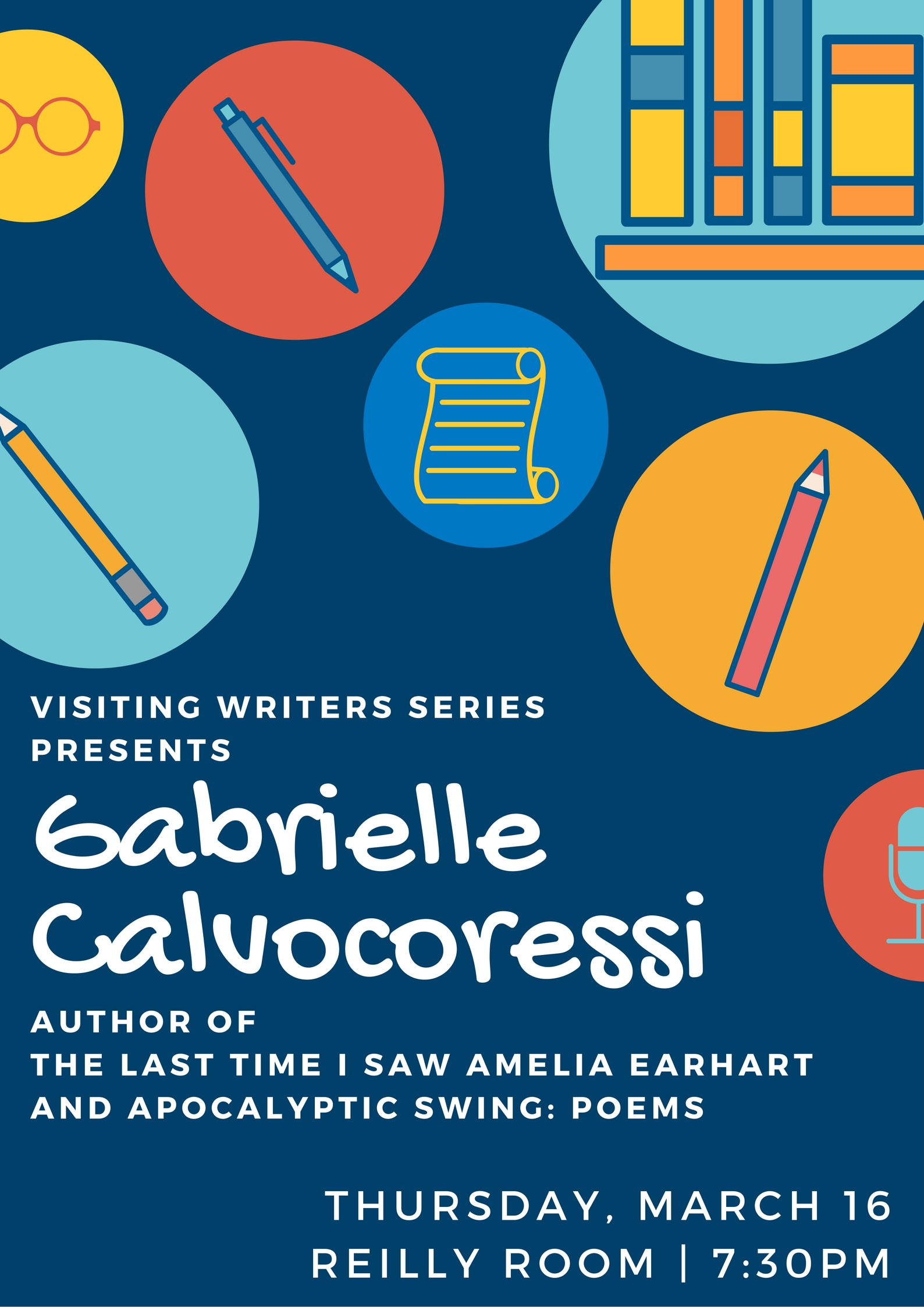 Gabrielle Calvocoressi will be in the Reilly Room on Thursday, March 16, 2017, at 7:30pm.