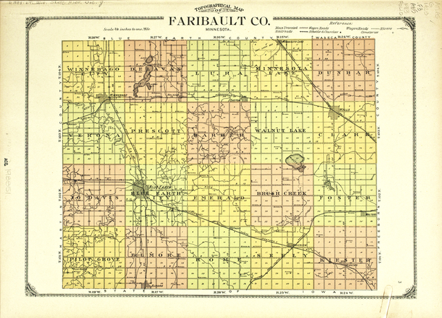Topographical Map of Faribault County, Minnesota, 1913