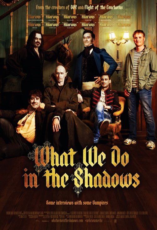 Movie Poster for What We Do in the Shadows, featuring a group of vampires