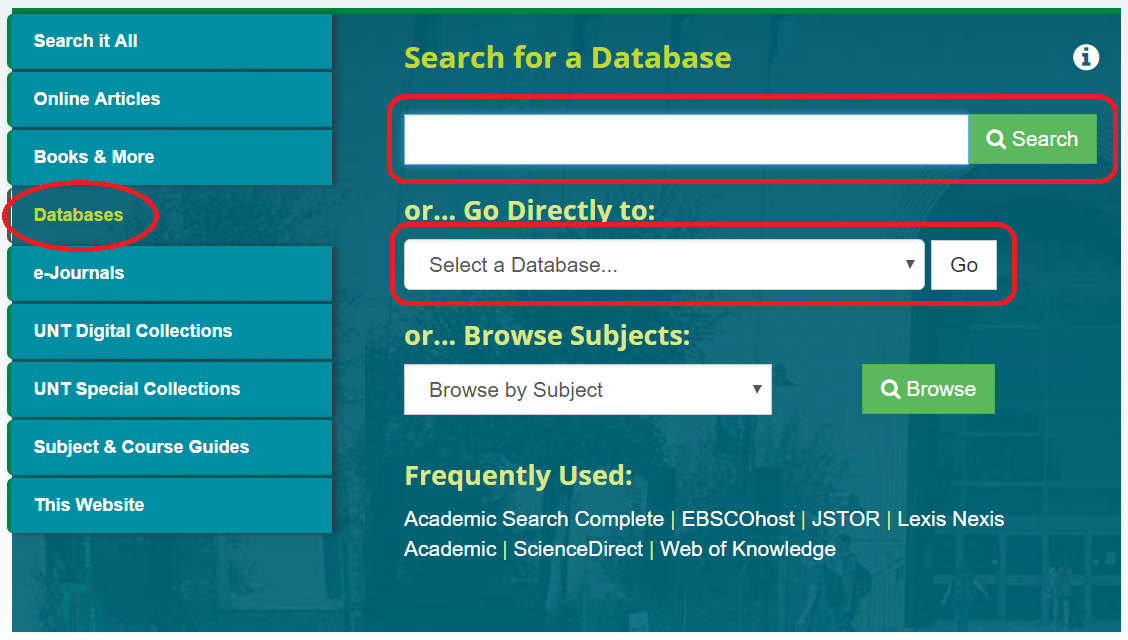 UNT Library Search Table with Databases selected