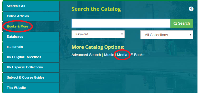 UNT Library Catalog Search Table