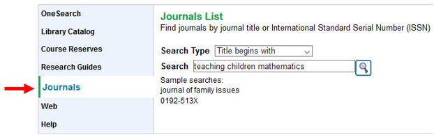 Shows search on library homepage for the journal teaching children mathematics