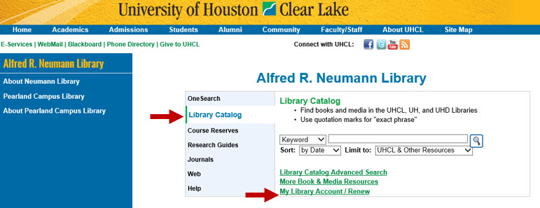 Shows Library Catalog search with link for My Library Account