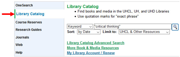 Library homepage search box for Library Catalog