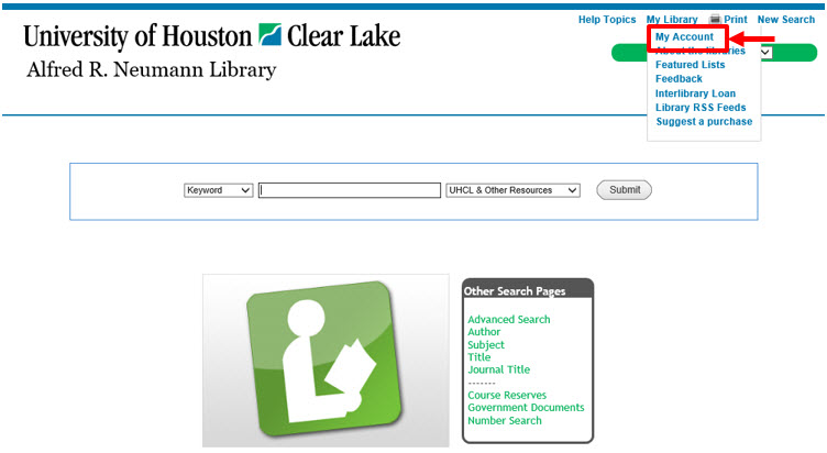 Shows Library Catalog My Library menu with link for My Account