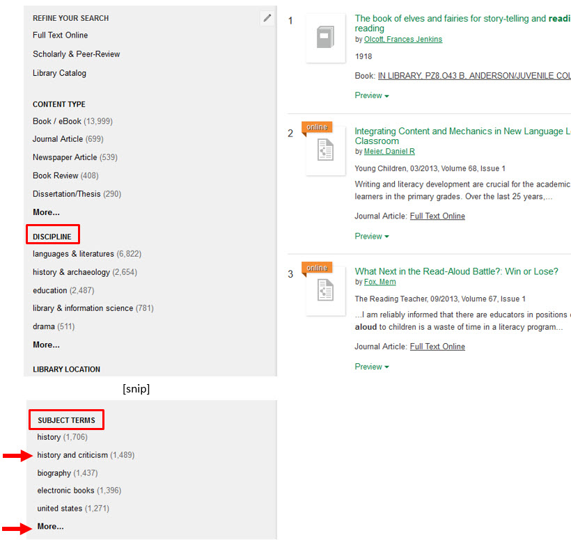 Shows subject terms and discipline choices in refine search options on left of OneSearch results