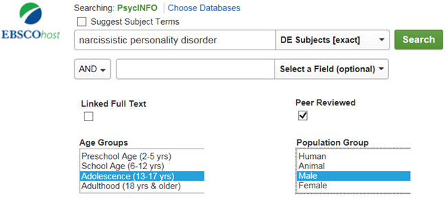 Shows search for an exact subject term with limiters for peer reviewed, age group adolescence, and population group male