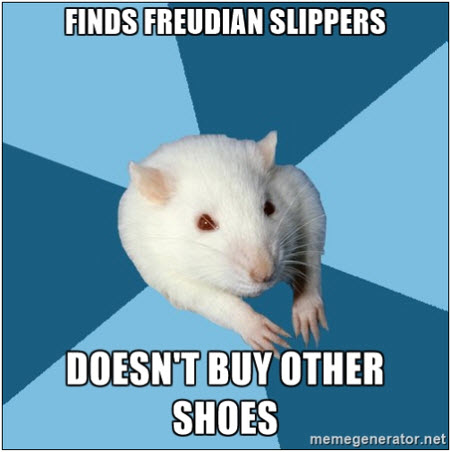 Finds Freudian slippers; doesn't buy other shoes