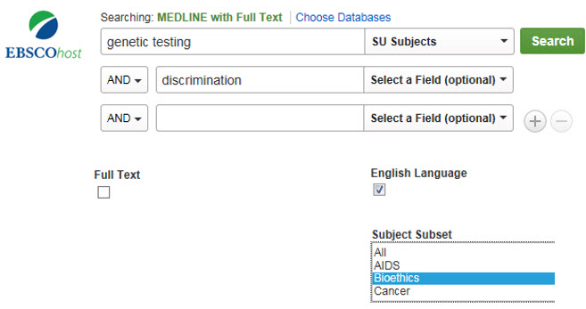 Shows search for genetic testing in Subjects field and discrimination with limiters for English language and subject subset Bioethics