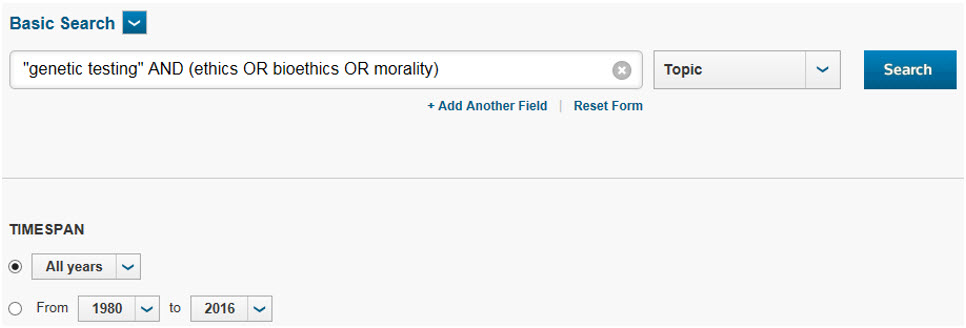 "Shows search for exact phrase ""genetic testing"" and ethics or bioethics or morality"