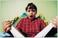 surprised child reading