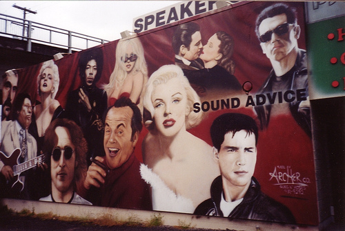 mural of pop culture icons