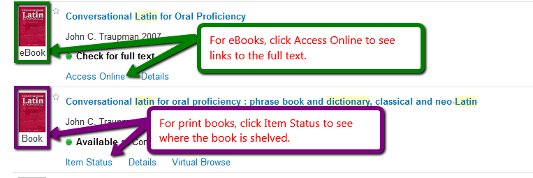 Screen shot of eBooks and Print Books listed in the Library Catalog