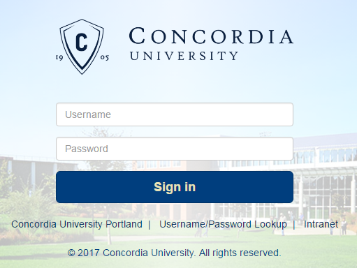 Screenshot showing the Portal login page.