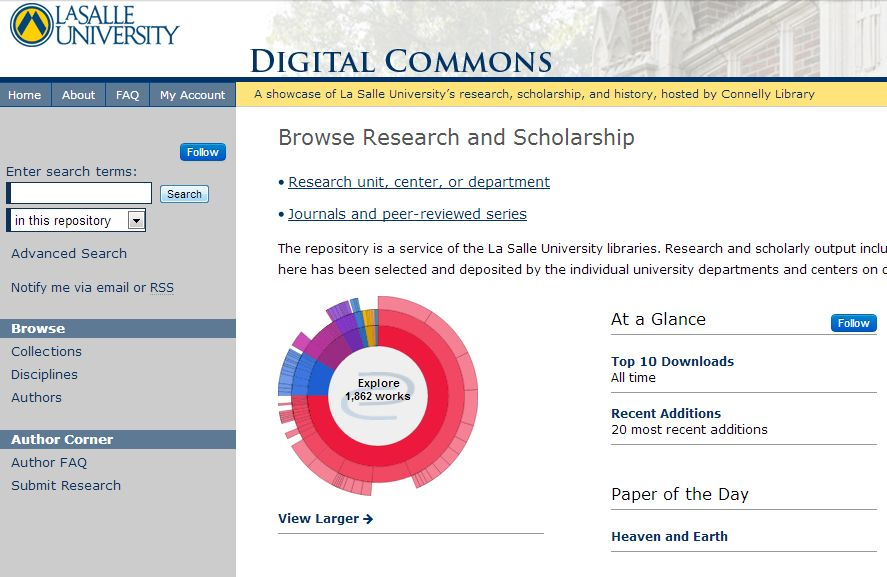 screenshot of Digital Commons homepage
