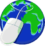 Image of a blue and green earth with a computer mouse and cord over it.