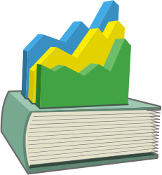 Book with Statistical Graph on Top