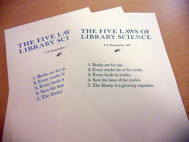 The five laws of library science by Ranganathan