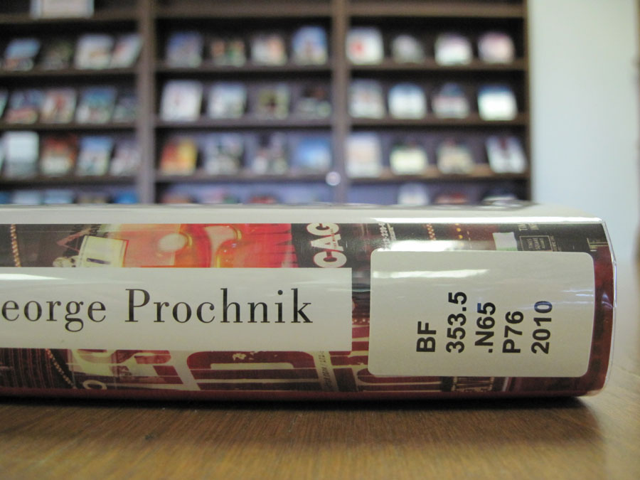 Book spine with call number label