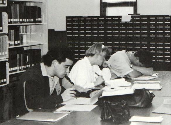 1992 Students Studying in Library