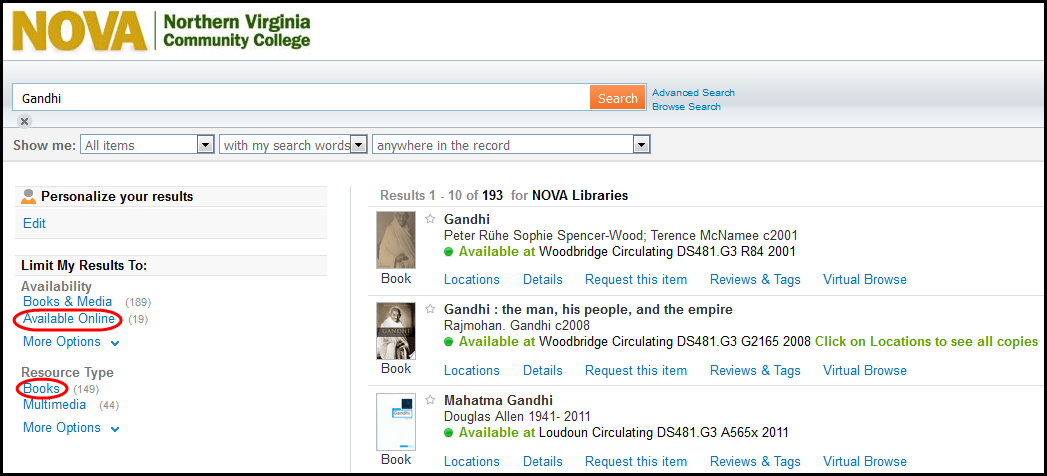 Screenshot showing catalog search